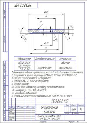 Уплотнение клапана НБ32.02.105